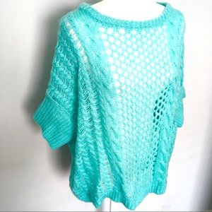 BCBGMaxAzria mint green fishnet poncho sweater